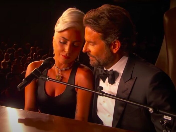 still of Bradley Cooper and Lady Gaga performing Shallow at the Oscars together