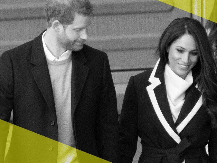 Stylized photo of Prince Harry and Meghan Markle walking.