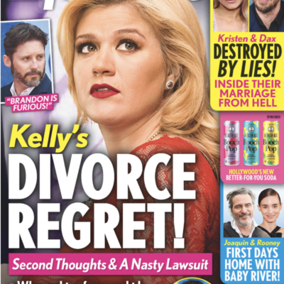 The cover Life & Style dated October 16th with a photo of Kelly Clarkson on it.