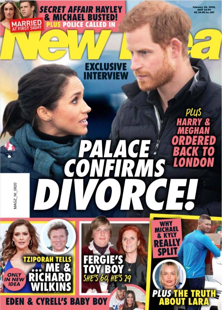 The cover New Idea magazine with a photo of Meghan Markle and Prince Harry on it.