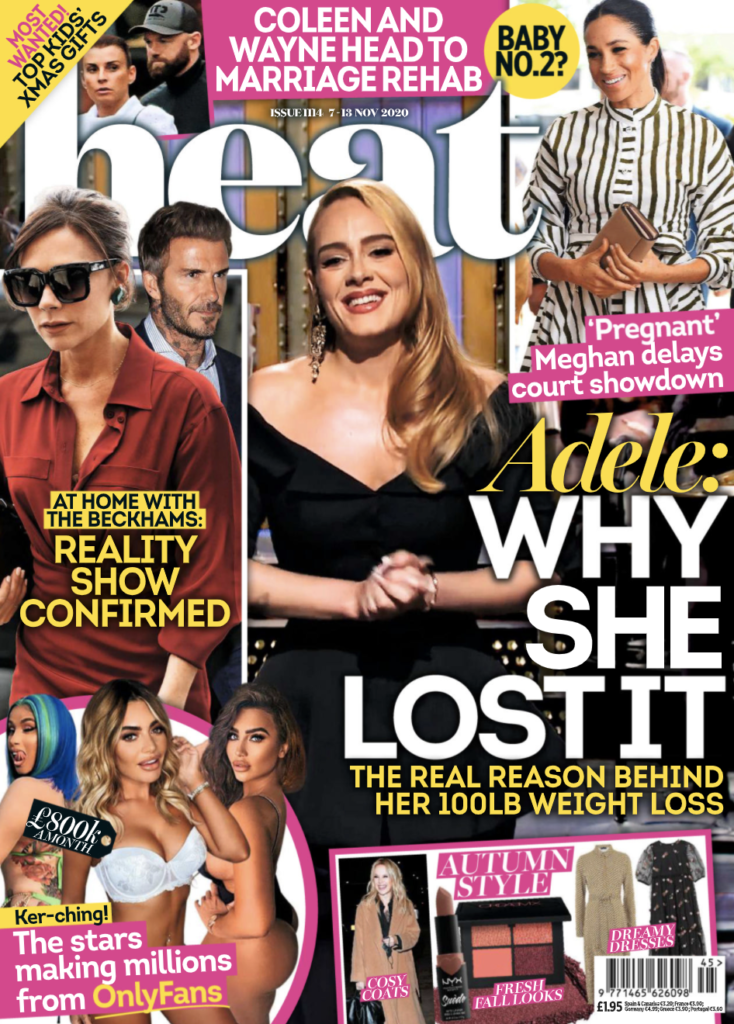 The Cover of Heat Magazine with a story in the corner claiming Meghan Markle is pregnant.