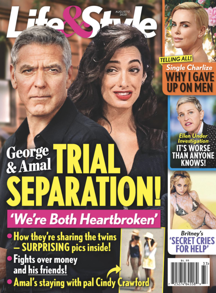 """The cover of Life & Style for August 14th, 2020 with George and Amal Clooney on the front and the headline """"Trial Seperation"""""""