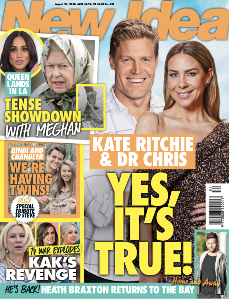 """The cover of New Idea, from August 24th, 2020 with a headline in the corner reading, """"Queen Lands In LA"""""""