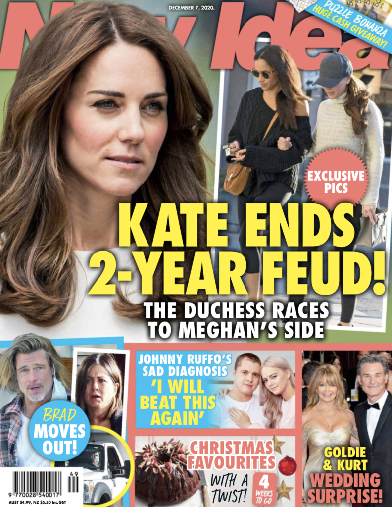 """The cover of New Idea magazine dated December 7th, 2020 with Kate Middleton's photo on it and the headline """"Kate Ends Two-Year Feud!"""""""