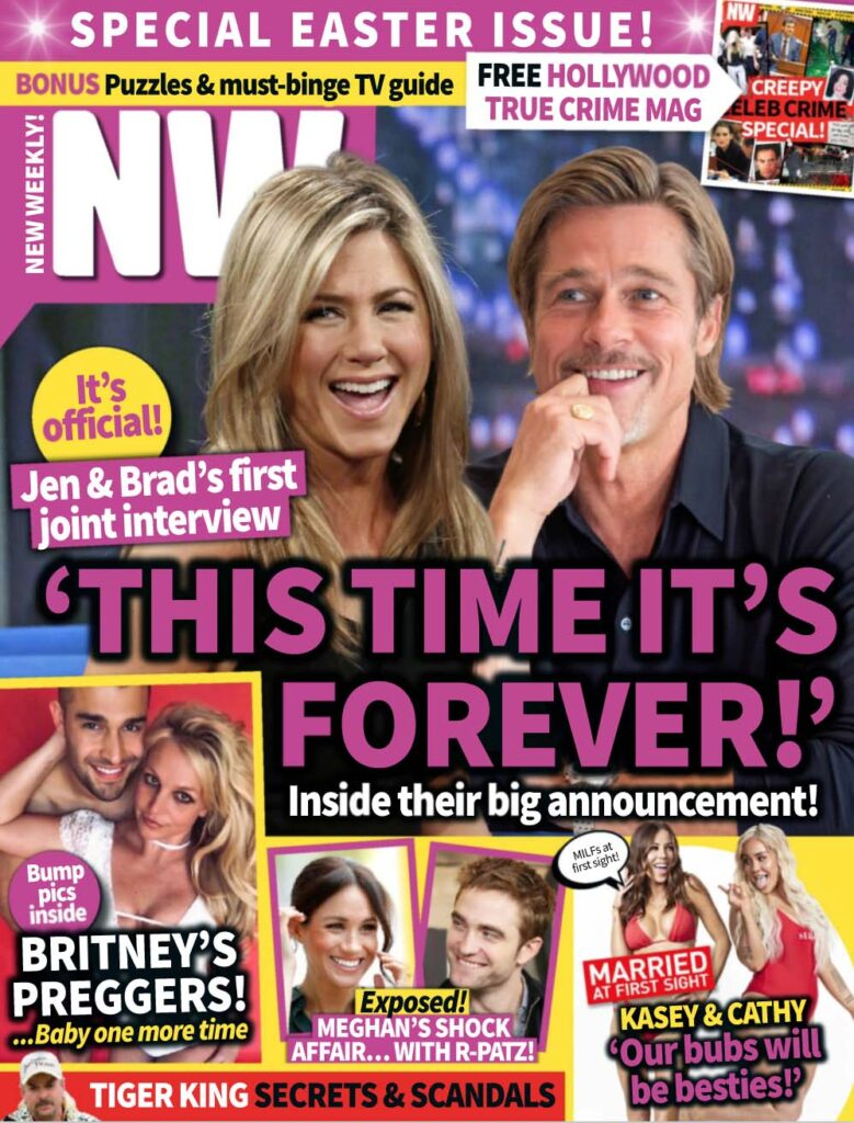 The cover of NW magazine feature Brad Pitt and Jennifer Aniston