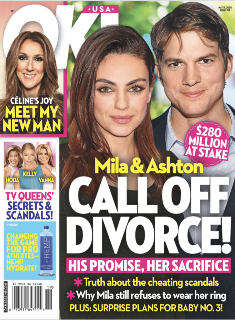 The cover of OK! Magazine on May 11th 2020, featuring Mila Kunis and Ashton Kutcher