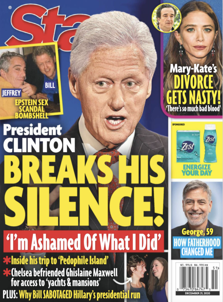 The cover of Star Magazine featuring Bill Clinton