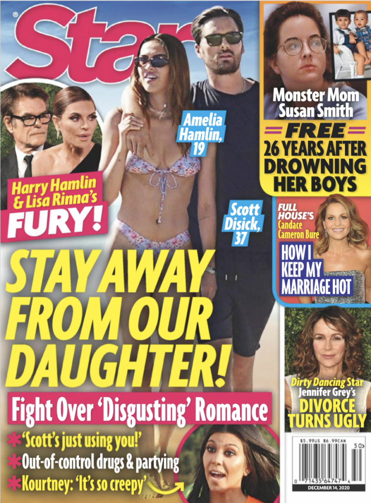 The cover of Star Magazine featuring a photo of Amelia Hamlin and Scott Disick walking on the beach