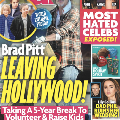 """The cover of Star magazine with the headline """"Brad Pitt Leaving Hollywood!"""""""