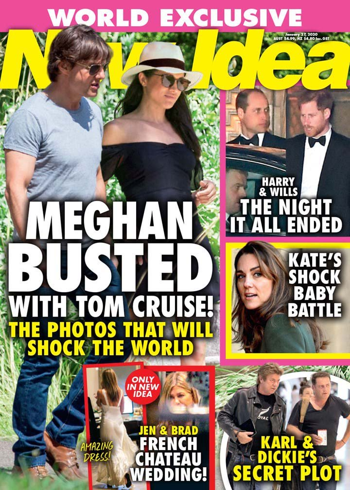 The cover of the January 27th edition of New Idea with Tom Cruise and Meghan Markle on the cover