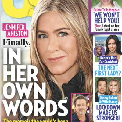 """The cover of the July 20th, 2020 Us Weekly Magazine with Jennifer Aniston on it and the headline """"Fi"""
