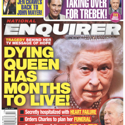 The cover of the National Enquirer featuring a photo of Queen Elizabeth II