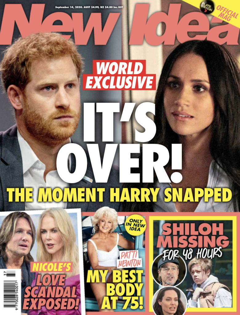 The cover of the September 14th issue of New Idea Magazine with a photo of Prince Harry and Meghan Markle on it.