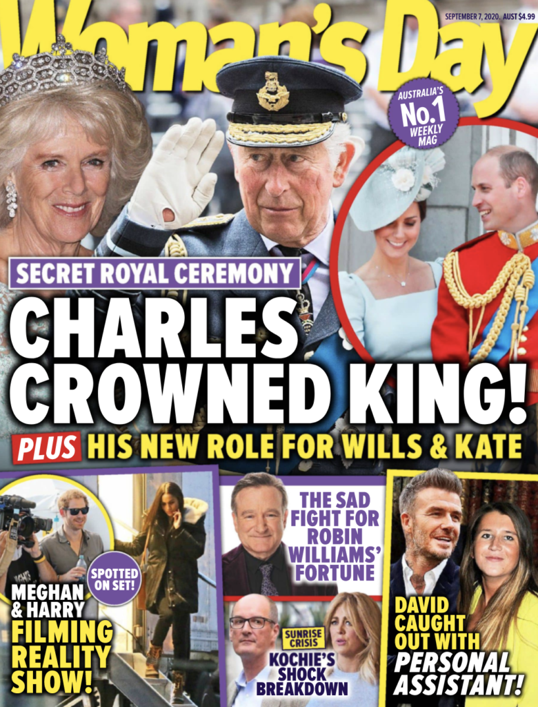 """The cover of Woman's Day for 7 September 2020 with the headline """"Charles Crowned King!"""""""
