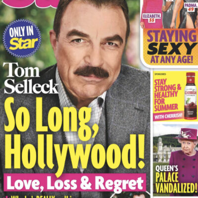 """The July 20th cover of Star with Tom Selleck's face and the headline """"So Long, Hollywood!"""""""