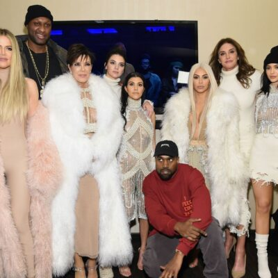 The Kardashian/Jenner family in various shades of white and pink at Kanye West's Season 3 Yeezy show