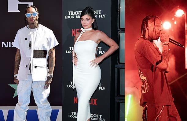 Three panel photo of Tyga, Kylie Jenner, and Travis Scott