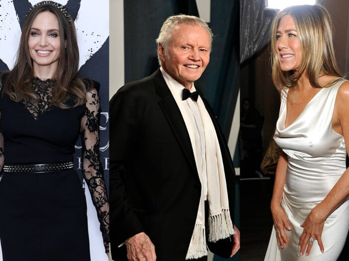 Three photo collage. Angelina Jolie on the left, Jon Voight in the middle and Jennifer Aniston on th