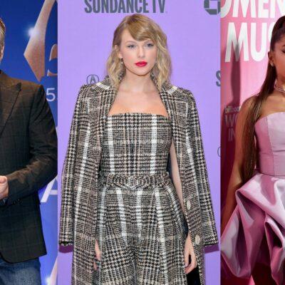 Three photos, from left to right, Blake Shelton, Taylor Swift, Ariana Grande.