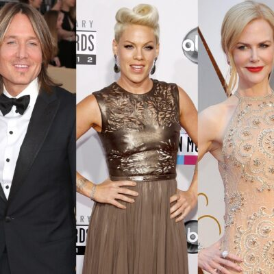 Three photos. Keith Urban in a tuxedo on the left, Pink in a gold dress in the middle, Nicole Kidman in a peach-colored dress on the right.