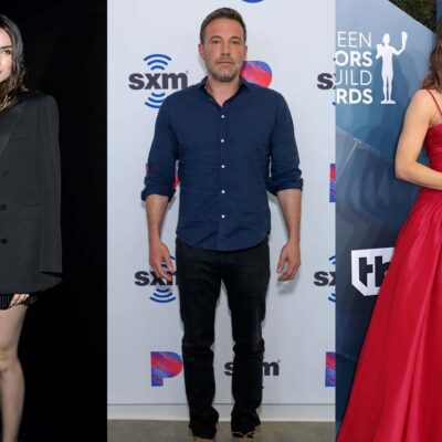 Three photos, side by side Ana de Armas on the left, Ben Affleck in the middle, Jennifer Garner on t