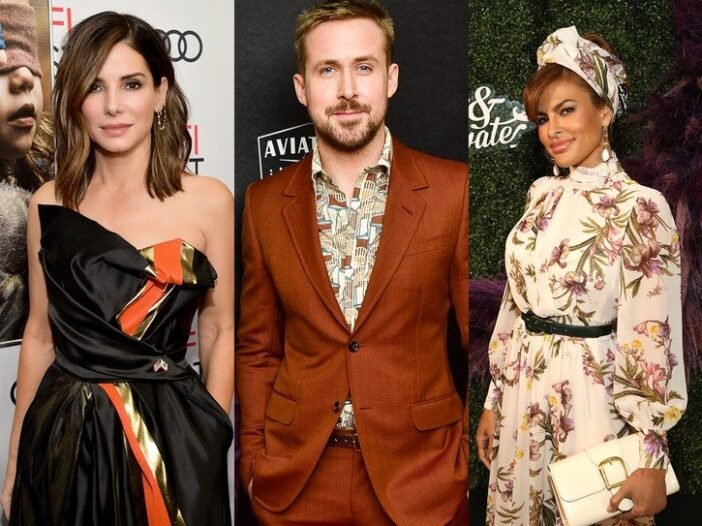 Three photos side by side, from left to right, Sandra Bullock, Ryan Gosling, Eva Mendes