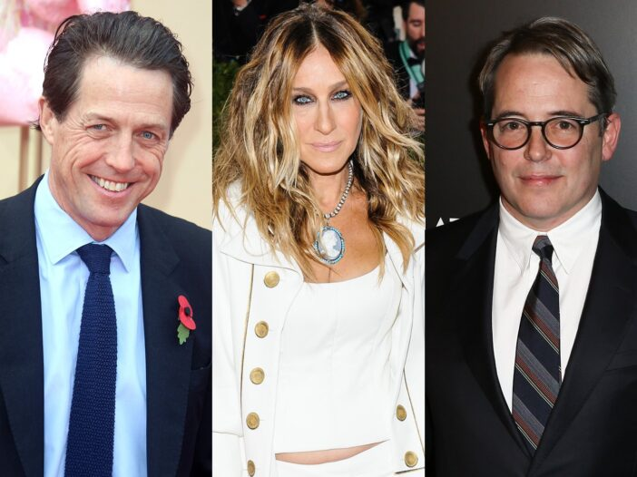 Three separate photos from left to right, Hugh Grant, Sarah Jessica Parker, Matthew Broderick.