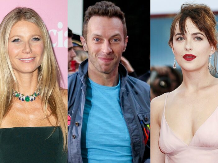 Three separate photos - Gwyneth Paltrow on the left, Chris Martin in the middle, Dakota Johnson on the right.