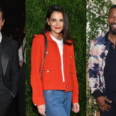Three shot of Tom Cruise, Katie Holmes and Jamie Foxx at red carpet events