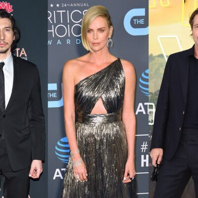 Three side-by-side photos. Adam Driver on the left, Charlize Theron in the middle, Brad Pitt on the right.