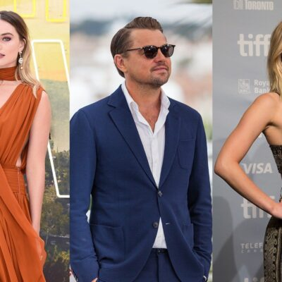 Three side-by-side photos. Margot Robbie on the left in an orange dress, Leonardo DiCaprio in the middle in a blue suit and sunglasses, Jennifer Lawrence on the right in a black and gold dress.