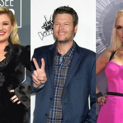 Three side-side photos of Kelly Clarkson, Blake Shelton, and Gwen Stefani on the red carpet