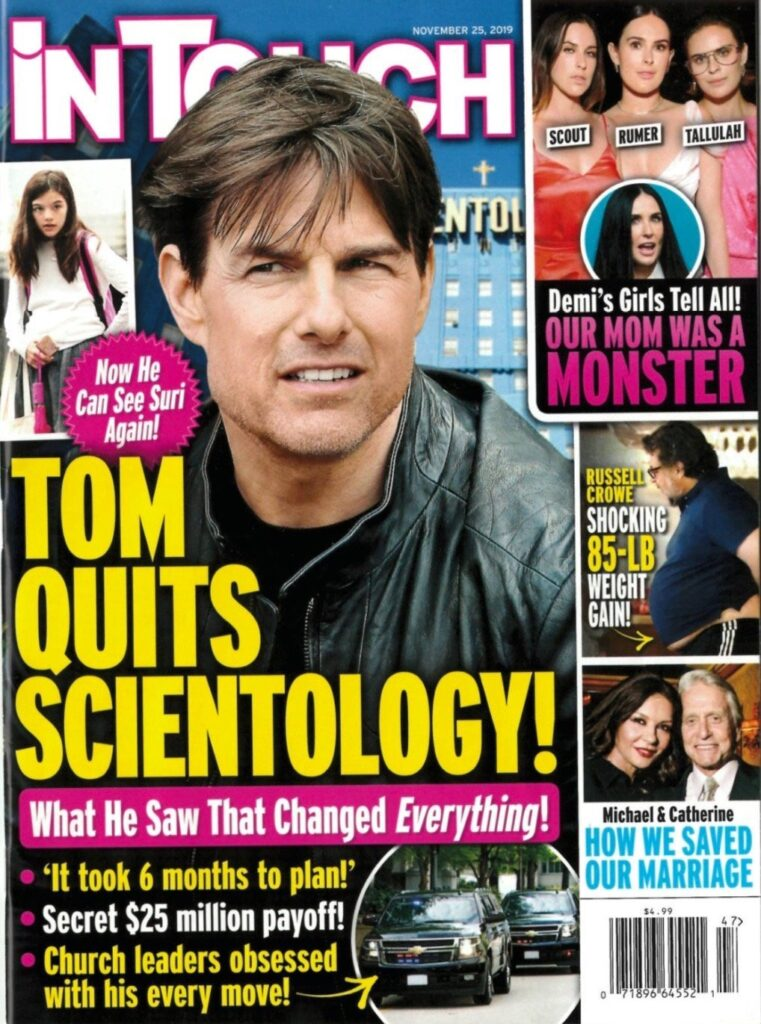 Tom Cruise on the cover of In Touch in a story about him leaving Scientology