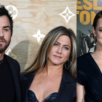 Two photo collage. Justin Theroux and Jennifer Aniston together on the left, Emma Stone on the right