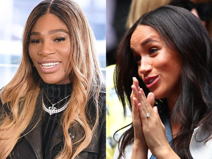 Two photo collage. Serena Williams on the left, Meghan Markle on the right