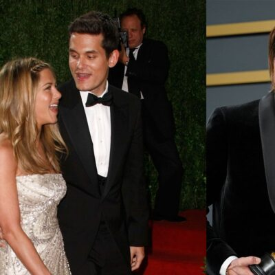 Two photos, a photo fo Jennifer Aniston with John Mayer on the left and a photo of Brad Pitt on the