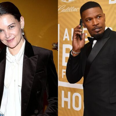 Two photos, Katie Holmes on the left, Jamie Foxx on his phone on the right