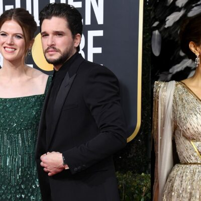 Two photos - Kit Harrington and Rose Leslie on the left, Angelina Jolie on the right