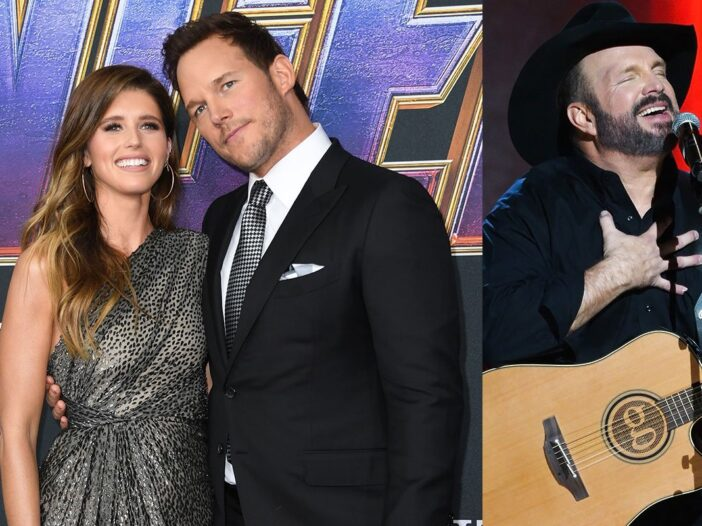 Two photos, one of Chris Pratt and Katherine Schwarzenegger at a red carpet event on the left and on