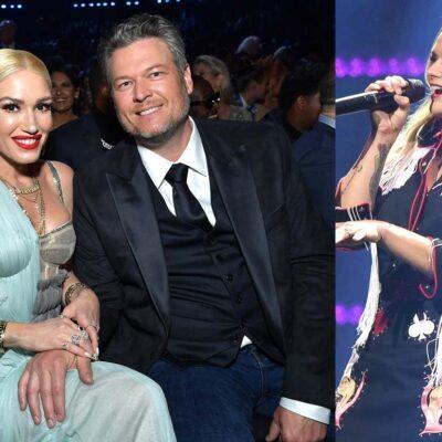 Two photos, one of Gwen Stefani and Blake Shelton together, one of Miranda Lambert performing