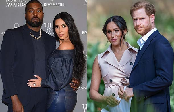 Two photos, one of Kanye West with Kim Kardashian and one with Meghan Markle and Prince Harry