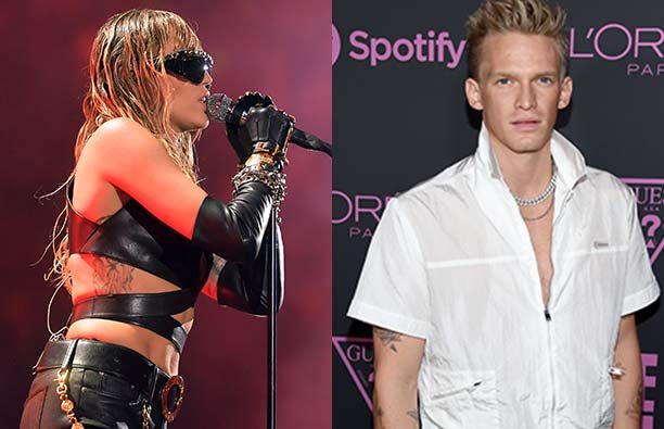 Two photos, one of Miley Cyrus performing in sunglasses and one of Cody Simpson in a white shirt