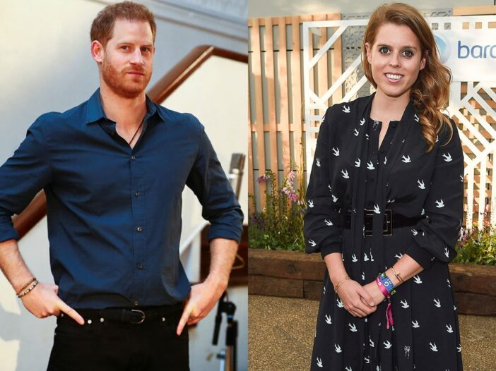 Two photos. Prince Harry with his hands on his hips on the left and Princess Beatrice with her hands
