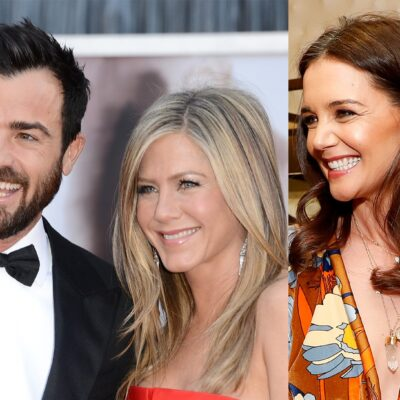 Two photos, side by side - Justin Theroux with Jennifer Aniston on the left and Katie Holems on the right.