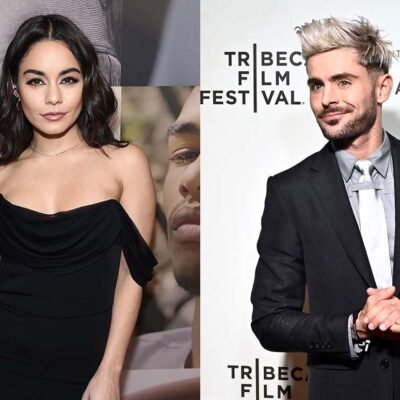 Two photos, side by side of Vanessa Hudgens in a black dress on the lest and Zac Efron with blonde h