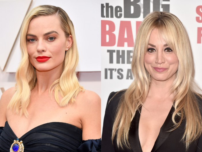 Two separate photos featuring Margot Robbie (left) and Kaley Cuoco (right), who are both wearing bla