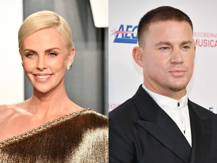 Two side-by-side photos. Charlize Theron on the left in a gold dress and Channing Tatum on the right