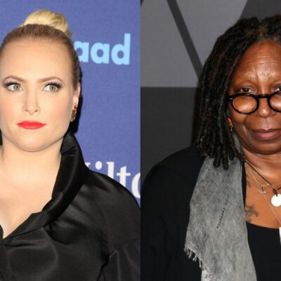 Two side-by-side photos featuring Meghan McCain, left, and Whoopi Goldberg, right