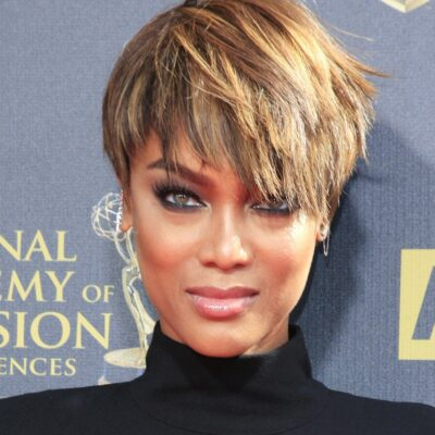 Tyra Banks wearing a black dress to the Daytime Emmy Award Gala in Burbank