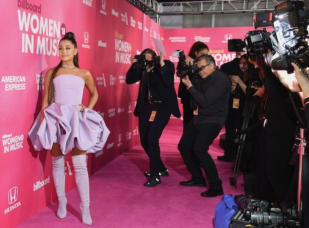 US singer Ariana Grande attends Billboard's 13th Annual Women In Music event at Pier 36 in New York